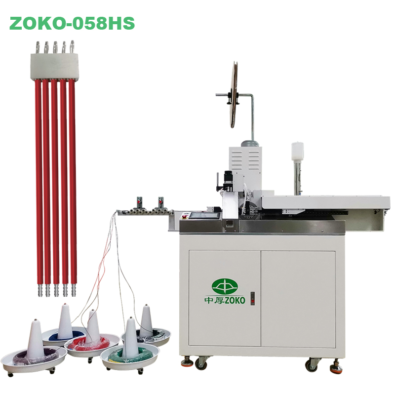 Fully automatic 5 wires cutting stripping cirmping and housing inserting machine