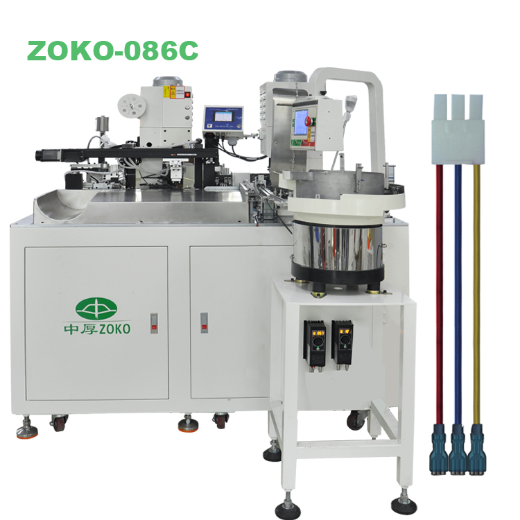 Fully automatic housing and sleeves inseting terminal machine