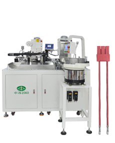 Automatic cable crimping and one side connector assembly machine