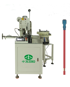Automatic cable one side crimping and sleeves insertion machine